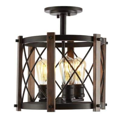 Ferme 14 in. 3-Light Iron Rustic Farmhouse LED Flush Mount, Brown/Oil Rubbed Bronze