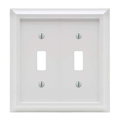 Deerfield 2 Gang Toggle Composite Wall Plate - White