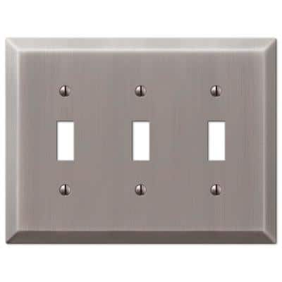 Metallic 3 Gang Toggle Steel Wall Plate - Antique Nickel
