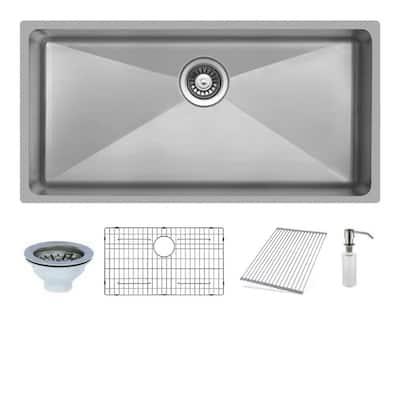 Undermount Stainless Steel 33 in. Single Bowl Kitchen Sink