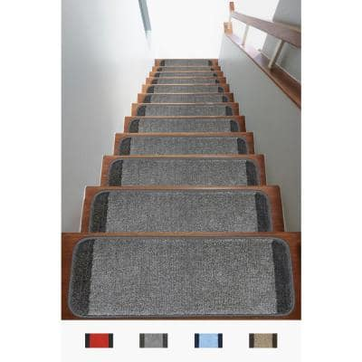 Striped Collection Gray/Fume 9 in. x 26 in. Polypropylene Non Slip Stair Tread Cover (Set of 13)
