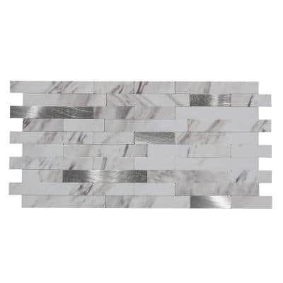 Collage 11.75 in. x 12 in. Metal and Composite Peel and Stick Backsplash in Marble Shine