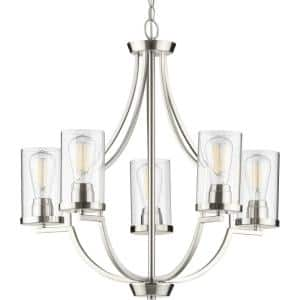 Lassiter Collection 5-Light Brushed Nickel Clear Glass Modern Chandelier Light