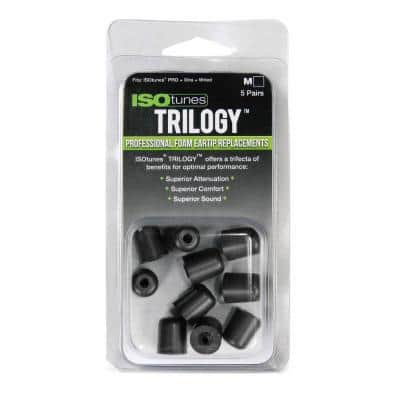 TRILOGY Medium Foam Replacement Hearing Protection Eartips for ISOtunes FREE, PRO, XTRA, and WIRED models, 5 Pair Pack