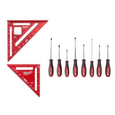 Screwdriver Set with 7 in. Rafter Square and 4-1/2 in. Trim Square Set (10-Piece)