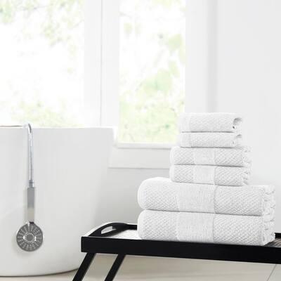Textured 6-Piece White Cotton Towel set with Velour Border