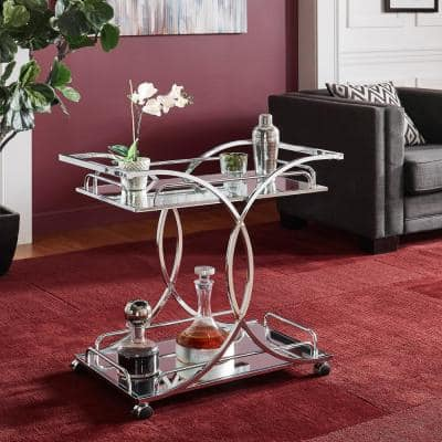 Chrome Bar Cart With Curving Metal Frame