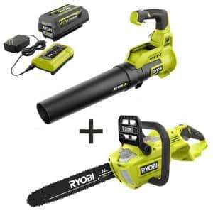 14 in. 40-Volt Brushless Lithium-Ion Cordless Chainsaw and Jet Fan Leaf Blower, 4 Ah Battery and Charger Included
