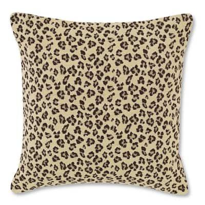 Leopard Brown Plush 20 in. x 20 in. Decorative Pillow