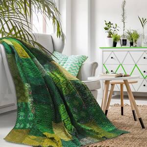 Patchwork Peacock Green Silk Blend Kantha Throw Blanket