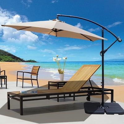 10 ft. Market Offset Outdoor Patio Umbrella in Tan