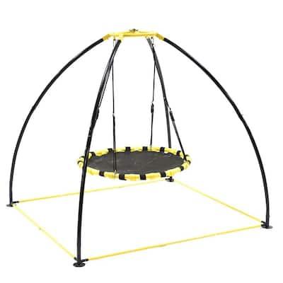 Backyard 360-Degree Adjustable Height UFO Swing Set, Yellow