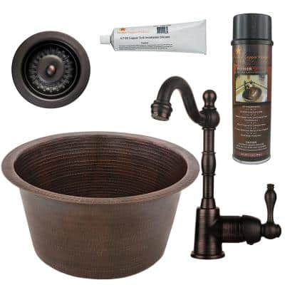 Bronze 16 Gauge Copper 17 in. Dual Mount Round Bar Sink with Faucet and Strainer Drain