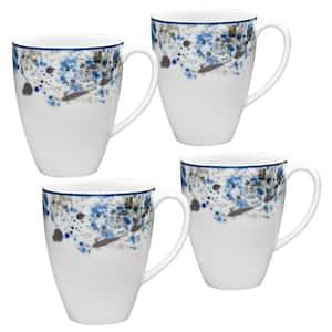 Blue Nebula White Porcelain Mugs (Set of 4) 16 oz.