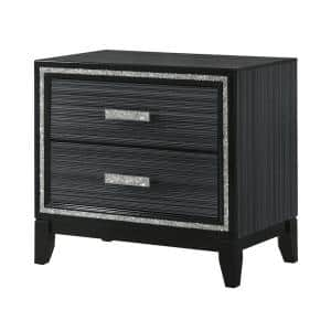Haiden 2-Drawer Weathered Black Nightstand 26 in. x 17 in. x 28 in.