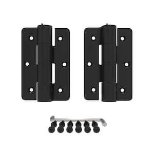 4-7/8 in. x 3-1/8 in. x 1-1/8 in. Aluminum Black Standard Butterfly Hinge (2-Pack)