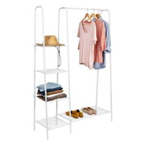 White Steel Clothes Rack 45 in. W x 66 in. H
