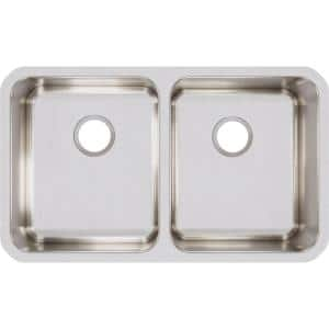 Lustertone Undermount Stainless Steel 31 in. 50/50 Double Bowl Kitchen Sink with 8 in. Bowl