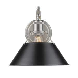 Orwell PW 1-Light Pewter Sconce with Black Shade