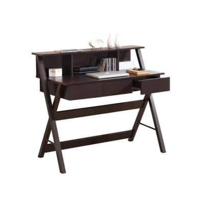 44 in. Rectangular Wenge 3 Drawer Writing Desk with Built-In Storage