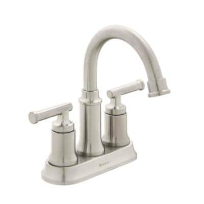 Oswell 4 in. Centerset Double Handle High-Arc Bathroom Faucet in Brushed Nickel