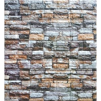 Falkirk Jura II 1/3 in. 28 in. x 28 in. Peel and Stick Multicolored Faux Bricks, Stones PE Foam Decorative Wall Paneling