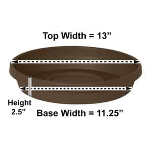Terra 13 in. Chocolate Plastic Plant Saucer Tray