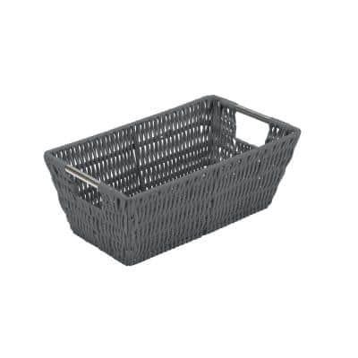 4.5 in. x 6.5 in. Gray Small Shelf Storage Rattan Tote Basket