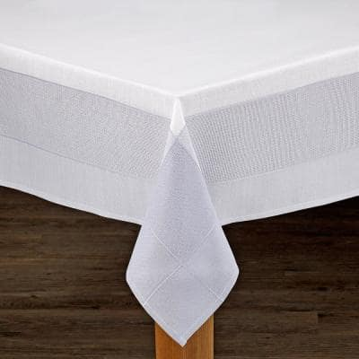 Bohemia 70 in. x 70 in. White/Grey 100% Polyester Tablecloth