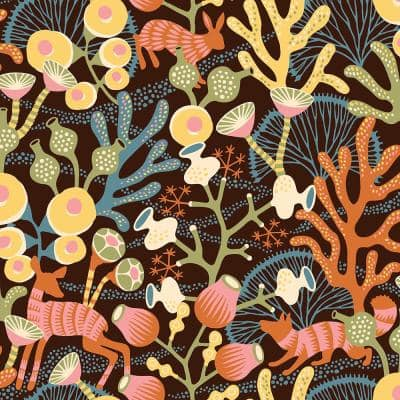 Korall Orange Meadow Orange Wallpaper Sample