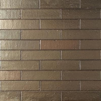 Queen Brick Metallic Golden Brass 2.5 in. x 9 in. 11mm Polished Clay Wall Tile (30 pieces / 4.63 sq. ft. / box)