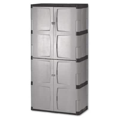 72 in. H x 36 in. W x 18 in. D Gray Resin Full Double Door Cabinet