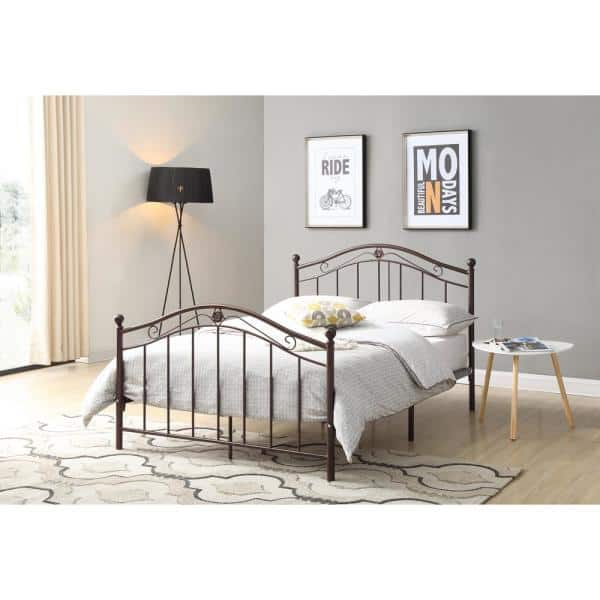 Hodedah Bronze Queen Size Metal Panel, Queen Bed With Headboard And Footboard