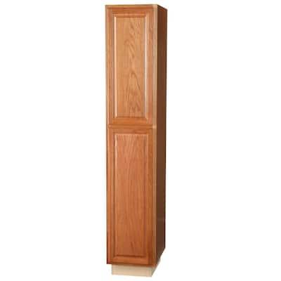 Hampton Assembled 18x96x24 in. Pantry Kitchen Cabinet in Medium Oak