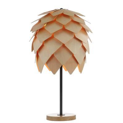 Simon 20.5 in. Wood/Black Pinecone Wood/Metal LED Table Lamp