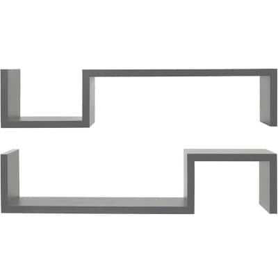4 in. x 22.75 in. x 4.75 in. Gray Laminate S-Shaped Floating Wall Shelves (Set of 2)