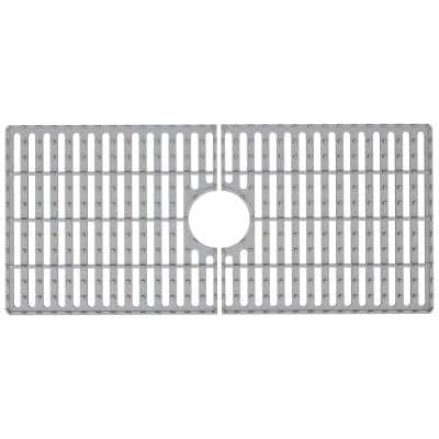 32 in. x 15 in. Silicone Bottom Grid for 36 in. Single Bowl Composite Kitchen Sink in Gray