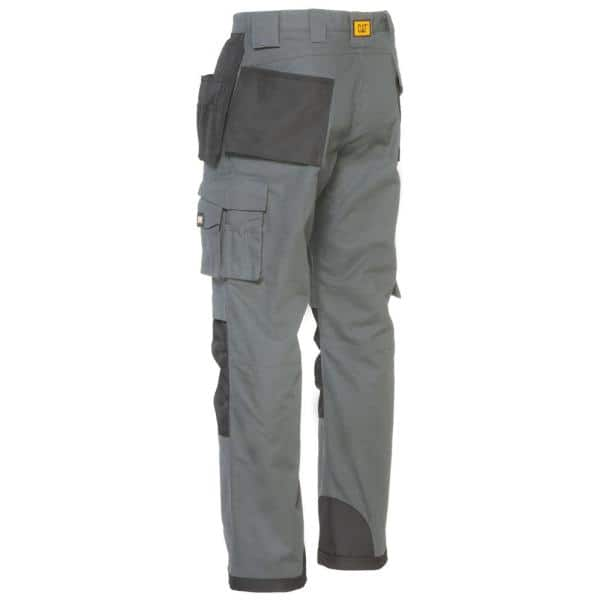 Caterpillar Trademark Men S 32 In W X 34 In L Grey Black Cotton Polyester Canvas Heavy Duty Cargo Work Pant C172 079 32 34 The Home Depot