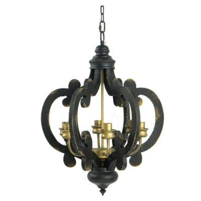 "6-Light Chandelier -  20.5"" x 18"" x 24"" - Antique Black"