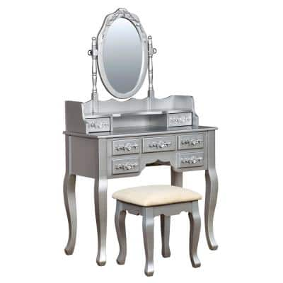 Zehner 2-Piece Silver Oval Mirror Vanity Set