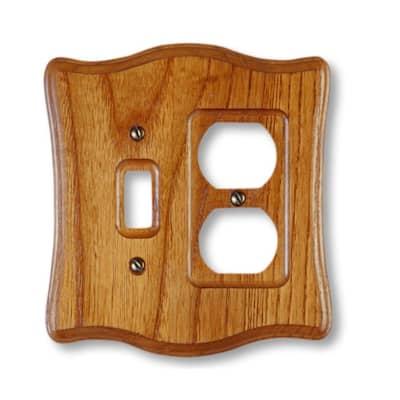 Austin 2 Gang 1-Toggle and 1-Duplex Wood Wall Plate - Tavern Oak
