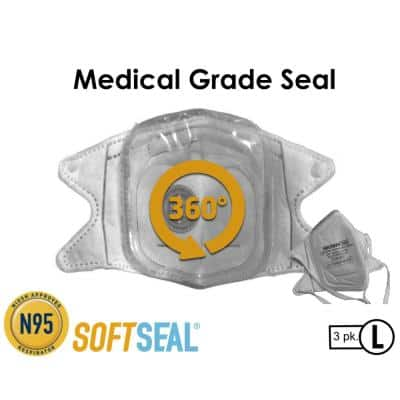 Silicon Molded L N95 Certified V-fold Mask with CoolTech Valve (3-pack)
