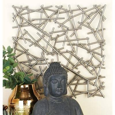 20 in. x 20 in. Silver Metal Contemporary Abstract Wall Decor