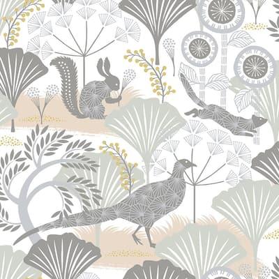 Skog White Forest White Wallpaper Sample