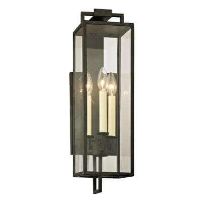 Beckham 3-Light Forged Iron 21.5 in. H Outdoor Wall Lantern Sconce with Clear Glass