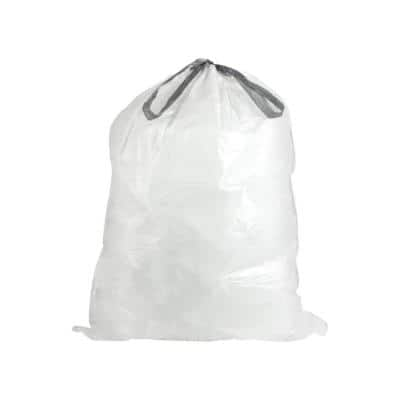 16.5 in. x 18 in. 2.6 Gal./10 Liter l White Drawstring Garbage Liners simplehuman Code R Compatible (100 Count)