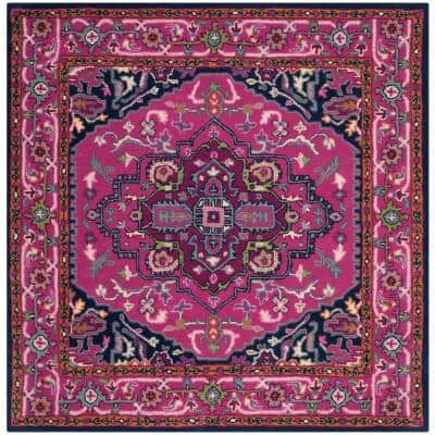 Bellagio Pink/Navy 5 ft. x 5 ft. Square Border Area Rug
