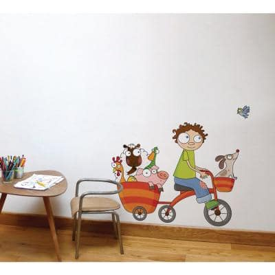 """(41.4 in x 35.5 in) Multi-Color """"Free Wheel"""" Kids Wall Decal"""