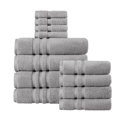 Micro Cotton 12-Piece Stone Gray Bath Towel Set