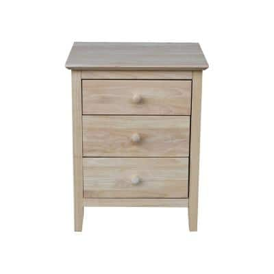 Unfinished Solid Wood 3-Drawer Nightstand